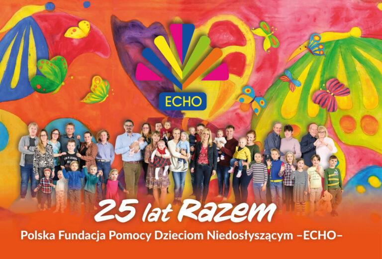 Jubileuszowy obrazek Fundacji -ECHO- kolorowy obraz podopiecznych Fundacji podlogo